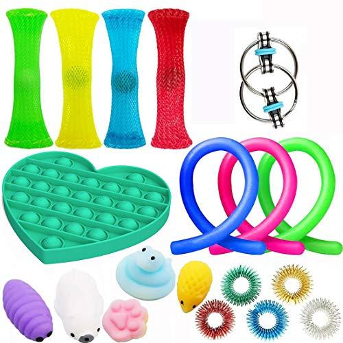 19Pcs Juguetes Sensoriales, Kit de Juguetes Antiestrés, para Aliviar el Estrés para Niños y Adultos, Sensory Fidget Toys Set de juguetes sensoriales Set de juguetes sensoriales para TDAH, Autismo