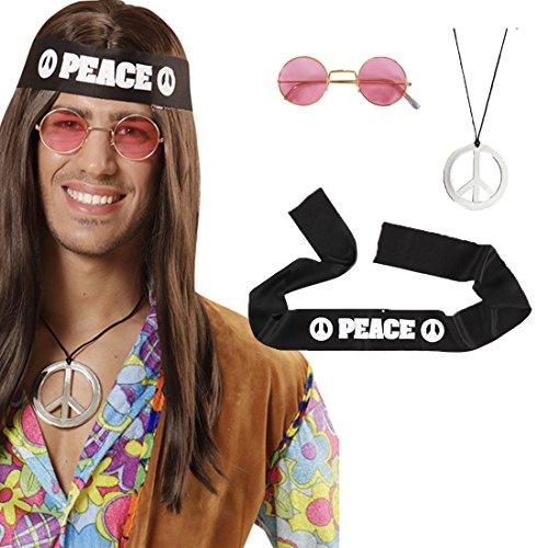 NET TOYS Set de Hippie Accessoires années 70 Collier Peace Bandeau Lunettes Flower Power Set de Hippie années 60 déguisement Symbole de Paix Set pour déguisement Carnaval Accessoire