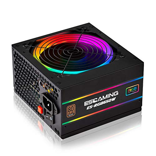 ESGAMING RGB Power Supply 650W, 80 Plus Bronze Certified Computer Power Supply with ARGB Light Modes, ATX PC Power Supply with 120mm Silent Cooling RGB Fan