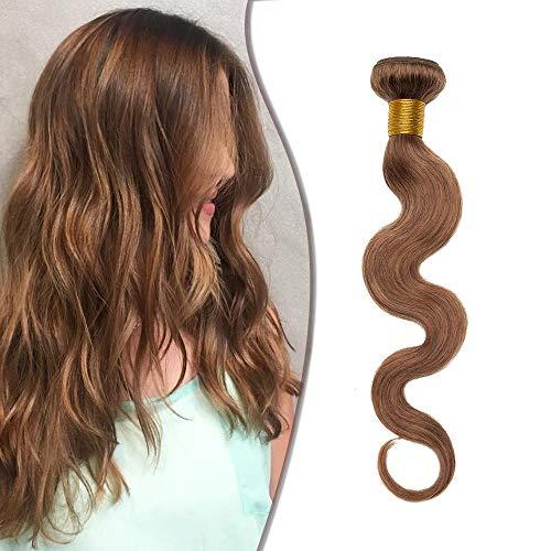 Tissage Naturel Cheveux Humain Ondulé #6 CHATAIN CLAIR Meches Rajout Extension Cheveux Naturel Sans Clips - 10 Pouce / 25cm