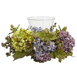 Silk Flower Arrangements Nearly Natural 4758 Hydrangea Candelabrum Silk Arrangement, Mixed