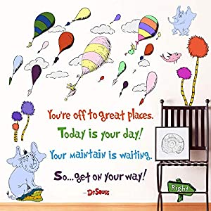 Supzone Dr Seuss Wall Stickers Quotes Sayings Kid Wall Decor You're Off to Great Places Wall Decor Mural Hot Air Balloon Wall Sticker for Kids Nursery Bedroom Playroom Classroom Living Room Wall Decal
