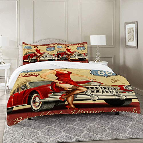 DIIRCYB Duvet Cover Set-Bedding,Route 66 American Diner Advertisement Poster with Sexy Girl and Automobile Nostalgic,Quilt Cover Bedlinen-Microfibre 200×200CM with 2 Pillowcase 50×80CM