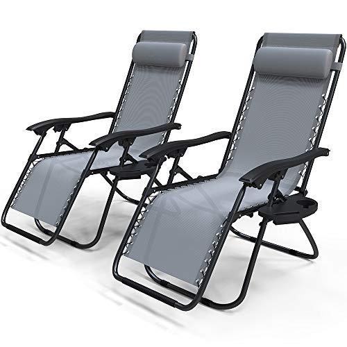 VOUNOT Liegestuhl Klappbar 2er Set, Relaxstuhl Garten mit Getränkehalter und Kopfpolster, Verstellbar Rückenlehne, Grau