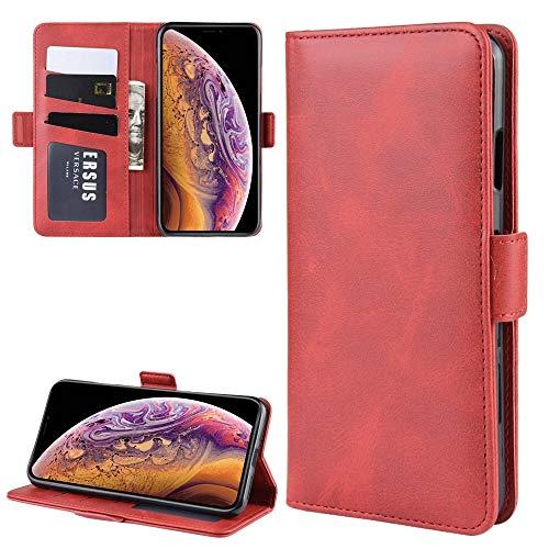 FATEGGS Accesorios para teléfono móvil Funda de cuero con hebilla magnética de doble cara para iPhone XS Max, con soporte y ranuras para tarjetas, cartera y marco de fotos fundas (color rojo)