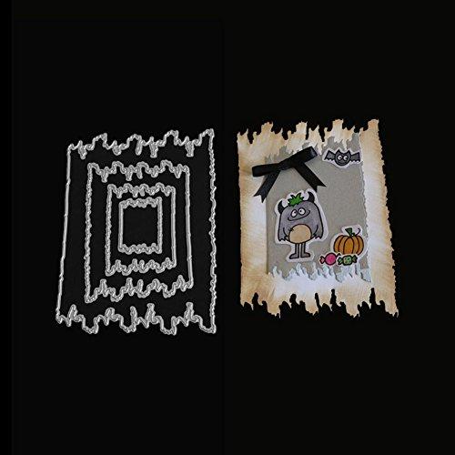Snijmatten, KimcHisxXv 4 Stks/Set Wave Line Frame DIY Snijmatten voor Fotoalbum Decoratieve Papier Kaart - Zilver