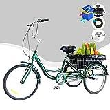 HIRAM 24' Triciclo per Adulti Bicicletta a Tre Ruote Triciclo con Cestino capacità di 100 kg per...