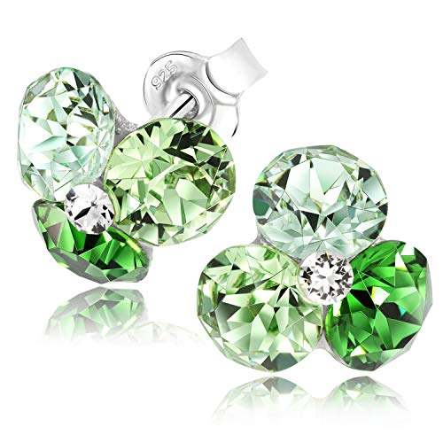 Chic Bijoux Stud Earrings for Women – Handmade with 4 Swarovski Crystals and 925 Sterling Silver for Sensitive Ears – Valentines Gift for Her, Hypoallergenic Jewellery, Green