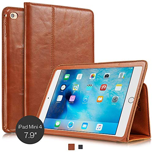 KAVAJ leather case Berlin for the Apple iPad mini 4 cognac brown - genuine leather with stand-up feature. Thin Smart Cover as premium accessory for the original Apple iPad mini 4