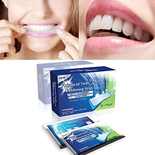Sparkling White Smiles Advanced Teeth Whitening Strips 28 Count(14 Upper and 14 Lower Strips) Compare to Major Brands and Save.