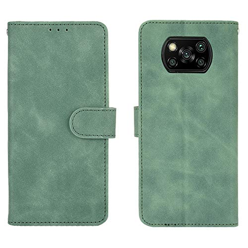 TOPOFU Handyhülle für Xiaomi Poco X3 NFC Hülle,Premium PU/TPU Lederhülle Klapphülle mit Magnetisch,Kartenschlitz,Ständer,Weiches Leder Handytasche Schutzhülle Flip Hülle-Grün