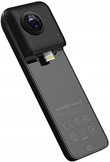 Insta360 Nano S - Videocámara 3D VR Compacta Cámara HD 4K 360° Foto de 20 Megapíxeles Compatible con iPhone X/8/7/6 Series Estabilización Integrada Micrófono Integrado con Lightning - Negro