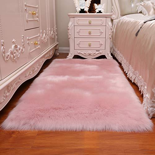 Cumay Lammfell-Teppich / aus Kunstfell | dekorativer Teppich für Wohnzimmer, Stuhl, Sofa, Schlafzimmer oder Kinderbett, Polyester Acryl Wolle, Rosa, 70x135cm