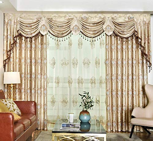 Queen's House Swag Waterfall Valance Luxury Drapes and Curtains for Living Room Gold Curtains for Bedroom Custom Size-R