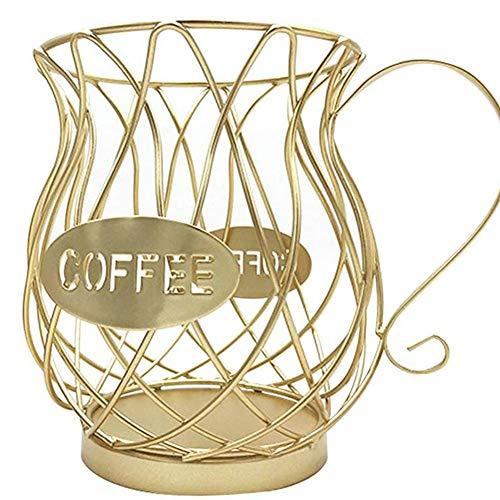 ZHIRCEKE Kaffee Kapsel Halter Eisen Kapsel Aufbewahrungkorb, Perfektes Küchen Kaffee Dispenser Von Kaffeekapseln,Aufbewahrungskorb Kaffeetasse Korb Retro Kaffeepad,B