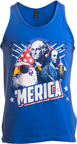 MERICA | Epic USA Patriotic American Party Unisex Tank Top Men Women -Adult,XL