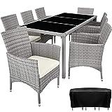 TecTake 800798 Poly Rattan Sitzgruppe für 8 Personen, UV-beständige Sitzgarnitur, Gartenmöbel Set mit 8 Stühlen, Tisch + Polster, inkl. Schutzhülle (Hellgrau)