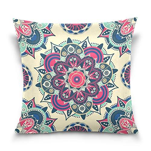 HMZXZ Funda de almohada decorativa de 40,6 x 40,6 cm, diseño étnico floral mandala indio, funda de cojín para sofá, dormitorio, sala de estar