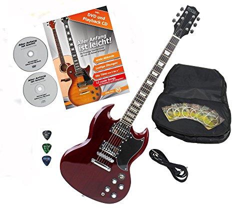 Rocktile Pro S-R E-Gitarre Heritage Cherry mit Zubehör (Gitarren Gigbag Tasche, Kabel, Plektren, Gitarren Schule mit CD & DVD, Gitarrensaiten)