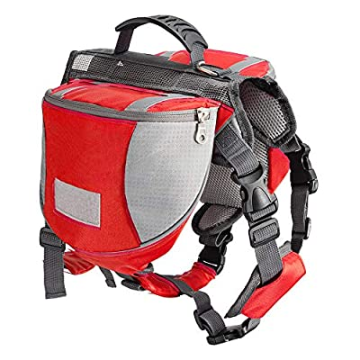Less bad Lifeunion Adjustable Service Dog Supply Waterproof Saddle Bag Backpack for Camping Hiking Training (Large, Red)