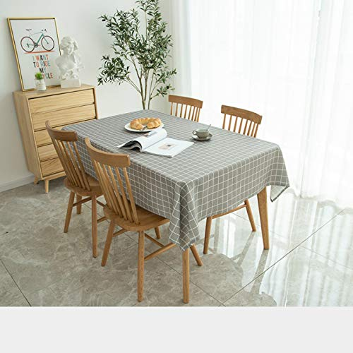 YOUYUANF Tablecloth round plastic rectangle linen disposable Washable cotton linen tablecloth, rectangular table cover, very suitable for self-service decoration of kitchen table120x220cm