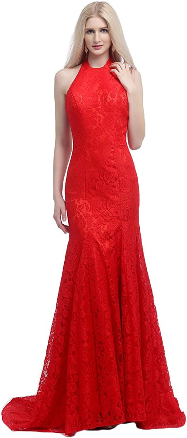 Engerla Women's Halter Lace Applique Formal Evening Gown with Mermaid Train