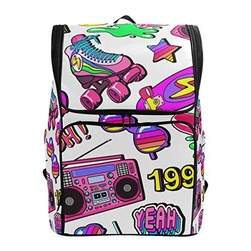 Mokale Nahtloses Muster-Bunte Element-Skateboard-Pizza,Rucksack Rucksack Reisetasche Wanderrucksack College Student School Bookbag Reisetasche für Männer oder Frauen