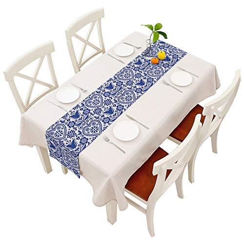 Moslion Floral Table Runner Bohemian Style Scandinavian Folk Art Navy Blue Decoration Table Runner for Kitchen Dining Wedding Banquet Party Cotton Linen 14x72 Inch