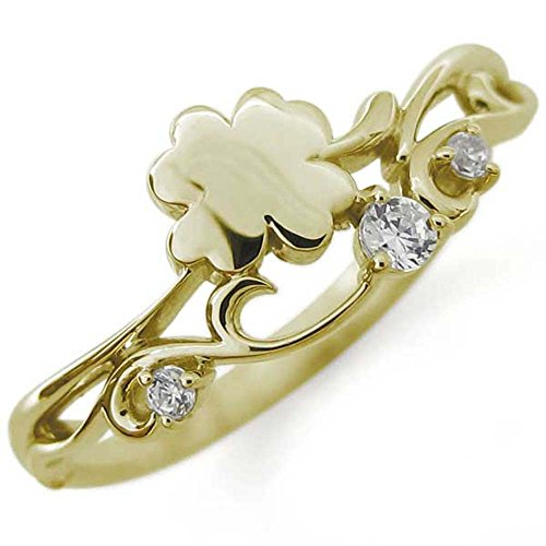 [プレジュール]クローバー リング ダイヤモンド ピンキーリング 四葉 指輪 K10 イエローゴールド