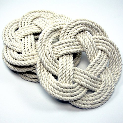 Nautical Sailor Knot Coasters in Natural White Cotton Set of 4