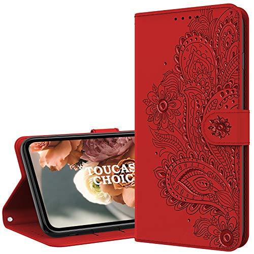 TOUCASACHOICE Funda para Samsung Galaxy S7 Edge, Vintage Flor Funda Piel con Tapa Suave TPU y Cuero de PU Tipo Libro Magnética Protector de Billetera Resistente a los Golpes Carcasa (Rojo)