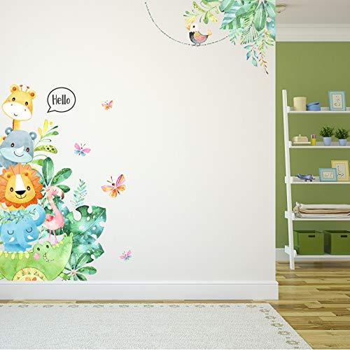 Adesivi Murali Animali dei Cartoni Decalcomanie Murali Animali Fai Da Te Adesivi per Porte Camera dei Bambini per Adesivi Murali e Camera per Bambini ad Scuola Materna