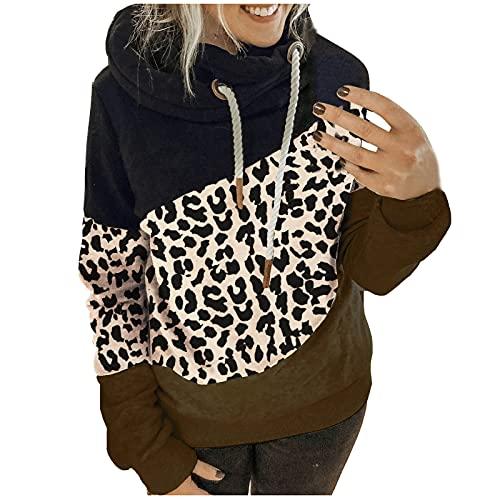 Sudadera con capucha para mujer, estilo informal, manga larga, con capucha, color bloque de colores, para tiempo libre, deporte, Verde militar., M