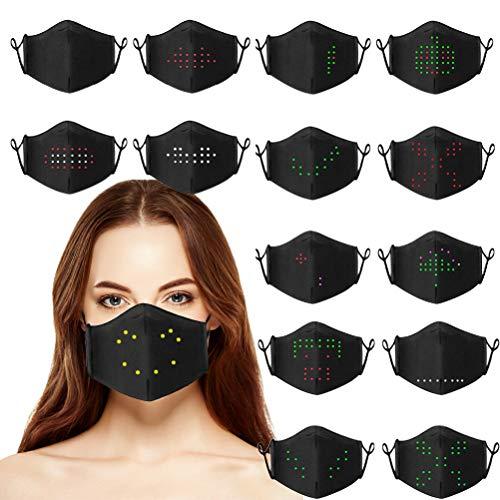 BSOA Máscara LED activada por Voz iluminada, máscara Digital Suave y cómoda Masquerade con 17 Patrones de Voz cambiables Cubierta Facial Luminosa