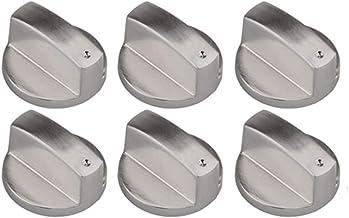 Liuer 6PCS Metal Universal 6mm Silver Gas Estufa Control Perillas Adaptadores Horno Rotativo Interruptor Cocinando Control De Superficie Cerraduras para Cocina Cocina Estufa de Gas Cooktop