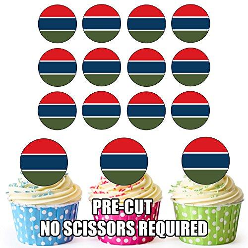 Gambia Vlag - 24 Eetbare Cupcake Toppers/Verjaardag Cake Decoraties - Easy Precut Circles