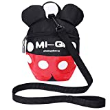 Toddler Backpack with reins, Kid Anti-Lost Rucksack with Safety Harness, Baby Preschool with Leash for 1-5 Boys and Girls (red/Black)