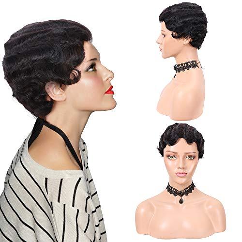 YMHPRIDE zwarte korte golf menselijk haar pruik voor vrouwen krullend fancy dress jaren 1920 cosplay party jaren 70 kostuum pruik