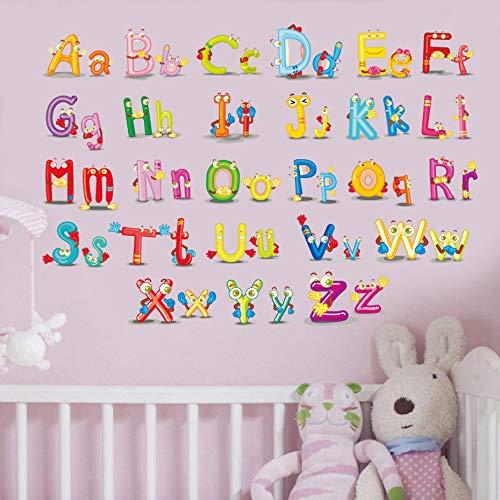 Lettre ABC sticker mural chambre d'enfant de dessin animé coloré 26 lettre enfants chambre applique murale fond