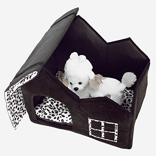 QISHUI Super Soft British Style Pet House Size M Coffee