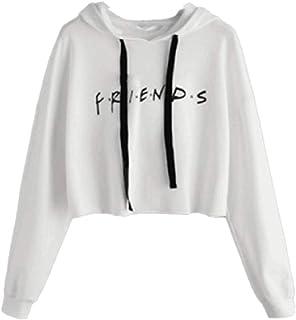 HEFASDM Womens Friends Letter Printed Cropped Hoode Long Sleeve Casual Shirt