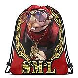 Sml Jeffy Hip Hop Rap Bolsas con cordón para deporte, gimnasio, fiesta, bolsa de regalo, bolsa de regalo, mochila con cordón, bolsa de almacenamiento, bolsa de cinch