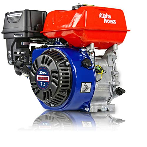 "AlphaWorks Gas Engine 7HP 209cc Motor Horizontal 4 Stroke OHV Recoil Start 3600RPM 8.85Ft-Lbs/12Nm Torque 3/4'x2.43"" Shaft 3/16' Keyway 5/16""-24 UNF End Tapped Go Kart Log Splitter EPA/CARB Certified"