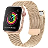 Oumida Cinturino Comapatibile per Apple Watch Cinturino 44mm 42mm 40mm 38mm, Morbido Metallo Cinturini per Apple Watch Iwatch Serie 6 5 4 3 2 1 SE, 2 Calamita Super (38/40mm Oro Rosa)