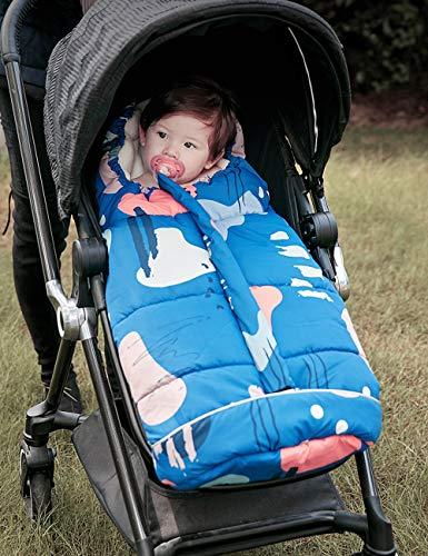 DROMEZ Winter Kinderwagen Schlafsack, Babyfußsack/Winterfußsack für Babyschale mit Reißverschluss,Outdoor-Reise Winddichten und Kick-sicheren Sicherheitsschlafsack,Tragbare Babydecke,Blau