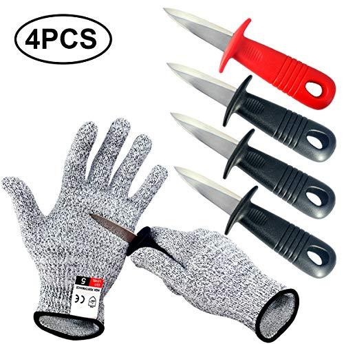 BXIO Cuchillo para ostras con Guantes Resistentes a Cortes, abridor de ostras Utensilios de Cocina Cuchillos para ostras de Color Negro y Rojo, 4 Piezas y 1 par de Guantes (Black)