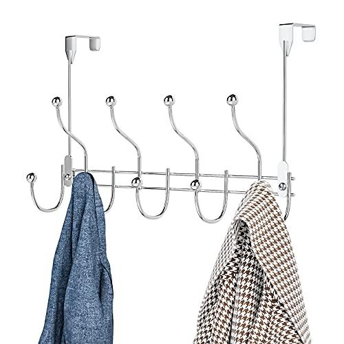 Over Door Towel Rack Hook Hanger with 9 Hooks, Heavy-Duty Hook Coat Rack with High Bearing Capacity for Hanging Clothes, Coat, Bag, Robe, Heavy Jackets, Towel, Silver