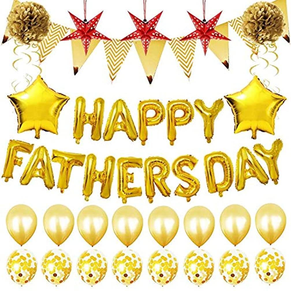 YourGift 33PCS Gold Party Decorations Happy FATHERSDAY Metallic Balloons Celebrate Father's Day Party Supplies Father's Gift Gold Balloon Decoration