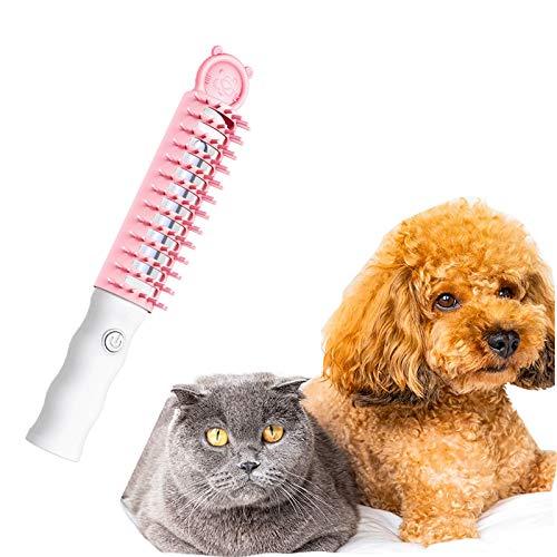GACYSMD Haustierpfleger Deodorant Kamm, intelligente elektrische Haustiere Druckentlastung Massagekamm, sicherer Pflegebürste für Haustiere Effizienz für Hund, Katze und Kaninchen (Color : Pink)