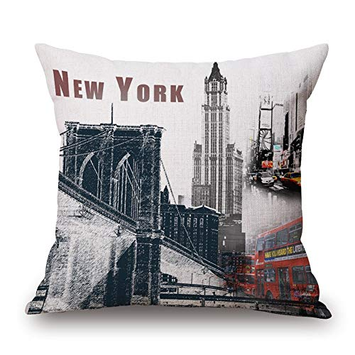 ENTUA Vintage New York City Skyscraper Blend Linen Square Decorative Retro Throw Pillow Case for Home Sofa Couch Décor Cushion Cover with Zipper Pillowcase Gray 18x18 Set of 1